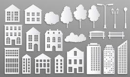 Edificios cortados de papel Siluetas de las mansiones de la casa, cabaña blanca de la ciudad de la papiroflexia, casas de ciudad ilustración del vector