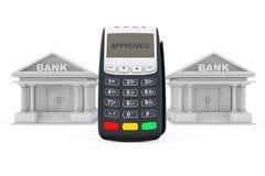 Edificios de banco cercanos terminales del pago con tarjeta de crédito representación 3d Foto de archivo libre de regalías