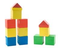 Edificios de bloques de madera Imagenes de archivo