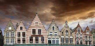 Edificios de Brujas en Bélgica Imágenes de archivo libres de regalías