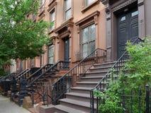 Edificios de la arenisca de color oscuro de Nueva York Imagenes de archivo