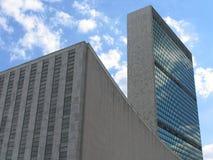 Edificios de la Asamblea General y de la secretaría de Naciones Unidas, opinión del paisaje Imágenes de archivo libres de regalías