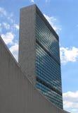 Edificios de la Asamblea General y de la secretaría de Naciones Unidas, opinión del retrato Foto de archivo