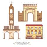Edificios de la ciudad del esquema de Italia, Rímini, ejemplo linear, señal del viaje Fotos de archivo libres de regalías