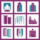 Edificios de la ciudad del vector fijados Fotografía de archivo libre de regalías