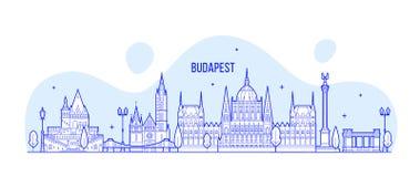 Edificios de la ciudad del vector de Hungría del horizonte de Budapest libre illustration