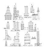 Edificios de la ciudad grande, sistema Colección del bosquejo Imagen de archivo libre de regalías