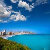 Edificios de la playa de Benidorm Alicante y mediterráneo Foto de archivo libre de regalías
