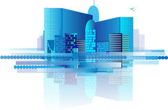Edificios de oficinas azules en ciudad Fotos de archivo