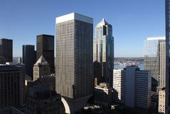 Edificios de oficinas céntricos de Seattle Imagen de archivo