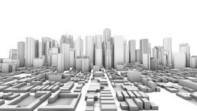 Edificios de oficinas de ciudad que crecen de time lapse (3D) stock de ilustración