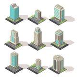 Edificios de oficinas isométricos fijados
