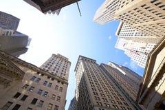Edificios de Wall Street Imágenes de archivo libres de regalías