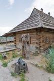 Edificios de Zaporozhskaya Sich en la isla de Khortytsia, Ucrania fotos de archivo