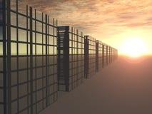 Edificios del asunto en la salida del sol Fotos de archivo