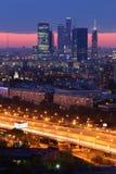 Edificios del complejo de la ciudad de Moscú de rascacielos fotos de archivo