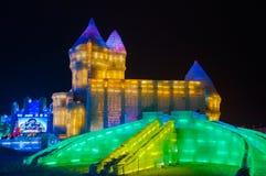 Edificios del hielo en el hielo de Harbin y el mundo de la nieve Fotos de archivo