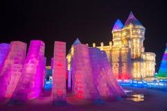 Edificios del hielo en el hielo de Harbin y el mundo de la nieve Foto de archivo libre de regalías