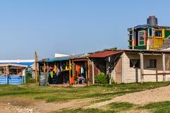 Edificios del hippy, Cabo Polonio, Uruguay Foto de archivo