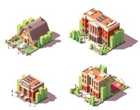 Edificios educativos isométricos del vector fijados stock de ilustración