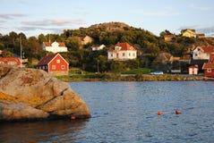 Edificios en el archipiélago en Suecia Fotografía de archivo