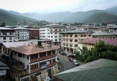 Edificios en el centro de la ciudad en Timbu, Bhután Fotos de archivo libres de regalías