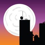 Edificios en el ejemplo de color del arte del vector del claro de luna Imágenes de archivo libres de regalías