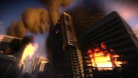 Edificios en el fuego en una ciudad destruida