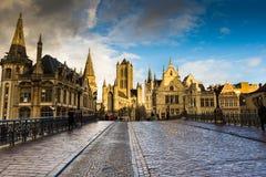 Edificios en Gante Imagenes de archivo