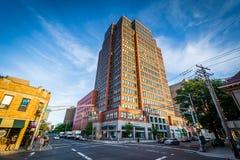 Edificios en la intersección de la calle y de Whitney Avenue de la arboleda foto de archivo libre de regalías