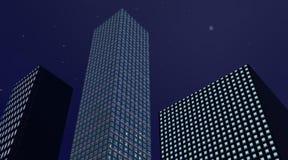 Edificios en la noche ilustración del vector