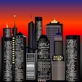 Edificios en la puesta del sol Fotos de archivo