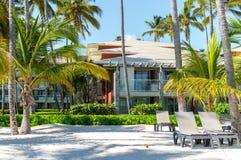 Edificios entre las palmeras en el centro turístico foto de archivo libre de regalías