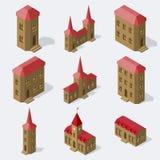 Edificios europeos isométricos fijados stock de ilustración