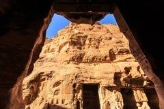 Edificios excavados de poco Petra en el al-Barid de Siq, Wadi Musa, Jord Imágenes de archivo libres de regalías