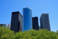 Edificios financieros del districto de Manhattan Imagen de archivo libre de regalías
