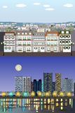 Edificios genéricos europeos del estilo parisiense - día al equipo del vector de la noche libre illustration