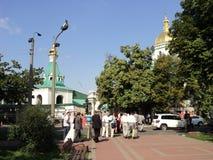 Edificios hermosos de Kiev de iglesias viejas foto de archivo