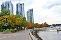 Edificios hermosos, horizonte, hojas del árbol del otoño, color de la caída, puerto del carbón en Vancouver céntrica, Columbia Br Foto de archivo libre de regalías