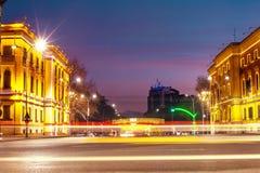 Edificios históricos de Tirana en centro de ciudad Fotos de archivo libres de regalías