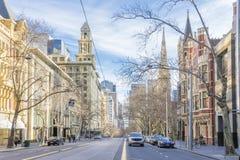 Edificios históricos en Collins Street en Melbourne, Australia Fotos de archivo libres de regalías