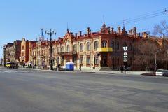 Edificios históricos en el centro de Khabarovsk Imagen de archivo
