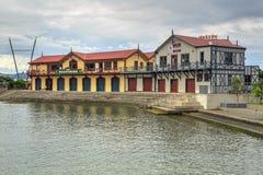 Edificios históricos en la costa en Wellington, Nueva Zelanda fotografía de archivo libre de regalías