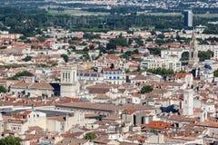Edificios históricos Nimes Francia Foto de archivo libre de regalías