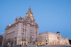 Edificios icónicos de Liverpool, las tres tolerancias Fotos de archivo