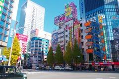 Edificios icónicos en Akihabara en Tokio, Japón Imagenes de archivo