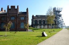 Edificios industriales viejos (museo silesio en Katowice, Polonia) Foto de archivo