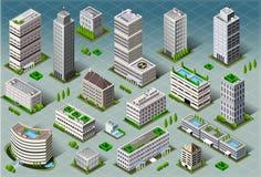 Edificios isométricos ilustración del vector