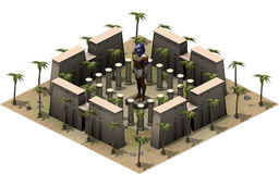 Edificios isométricos de Egipto antiguo, estatua de dios Horus representación 3d stock de ilustración