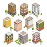 Edificios isométricos de la ciudad fijados con los árboles libre illustration